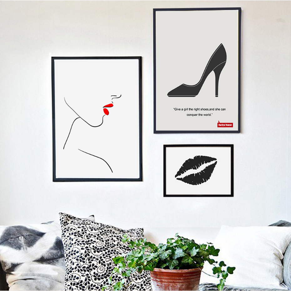 Minimalist Fashion Lips Canvas Paintings Abstract Black White Poster Print Nordic Wall Art Pictures for Living Room Home Decor