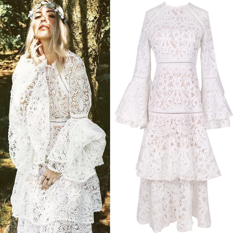S-3XL High Quality 2019 New Fashion Solid Color Lace Sexy Trumpet Sleeve Cake Dress Exquisite Slim Temperament Woman Clothes