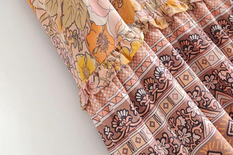 V-Neck Sasches Ruffles Floral Print Boho Dress 12