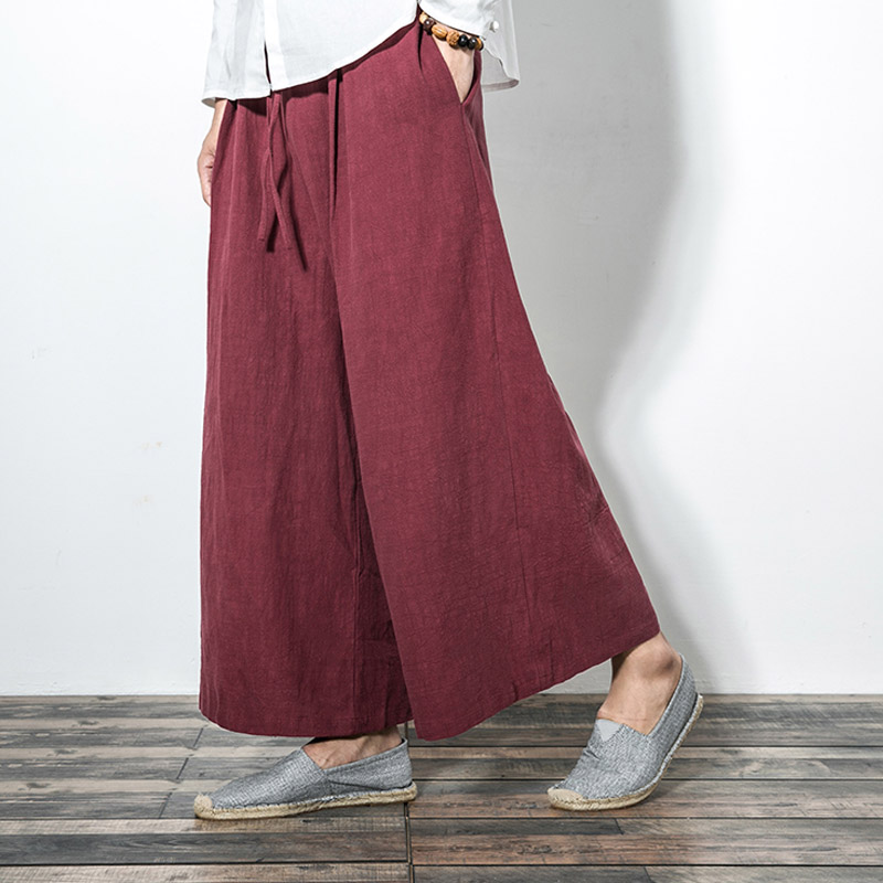 Men New Cotton Linen Wide Leg Pants Japanese Style Kimono Male Fashion Casual Loose Comfortable Trousers Skirt Pant
