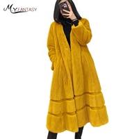M Y FANSTY Natural Real Fur Coat 2018 Winter Pure Color Mink Fur Coat Women S