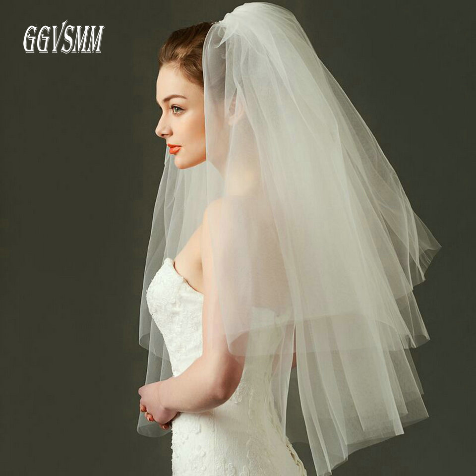 Fashion Wedding Veil Simple Tulle White Ivory Two Layers Bridal Veil Cheap Bride Accessories 75cm Short Women Veils With Comb-in Bridal Veils from Weddings & Events on Aliexpress.com | Alibaba Group