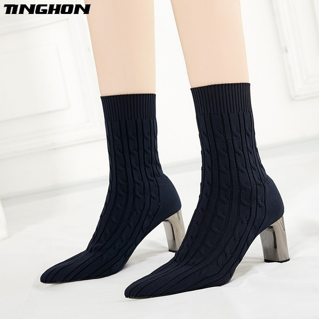 TINGHON Winter Handmade Knitting Women Sock Boots Pointed Toe Slip On Ankle  Boots For Women Warm High Heels Women Winter Boots 34a9b568dbc7