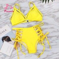 PACENT High Wasted Bathing Suits Women Halter Bikini 2017 New Swimwear Large Size Swimsuit Sexy Bandage