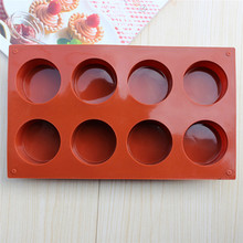 New! 8 Holes Round Shape Silicone DIY Cake Mold 3D Handmade Cupcake Jelly Pudding Cookie Mini Muffin Soap Mold Baking Tools