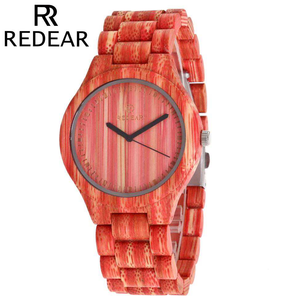 REDEAR Women Watches Men Watch 2017 Luxury Brand Handmade Natural All Bamboo Wood Watch with Size Adjustment Tool tjw 2017 men watch brands carbonized bamboo garden shell watches watch