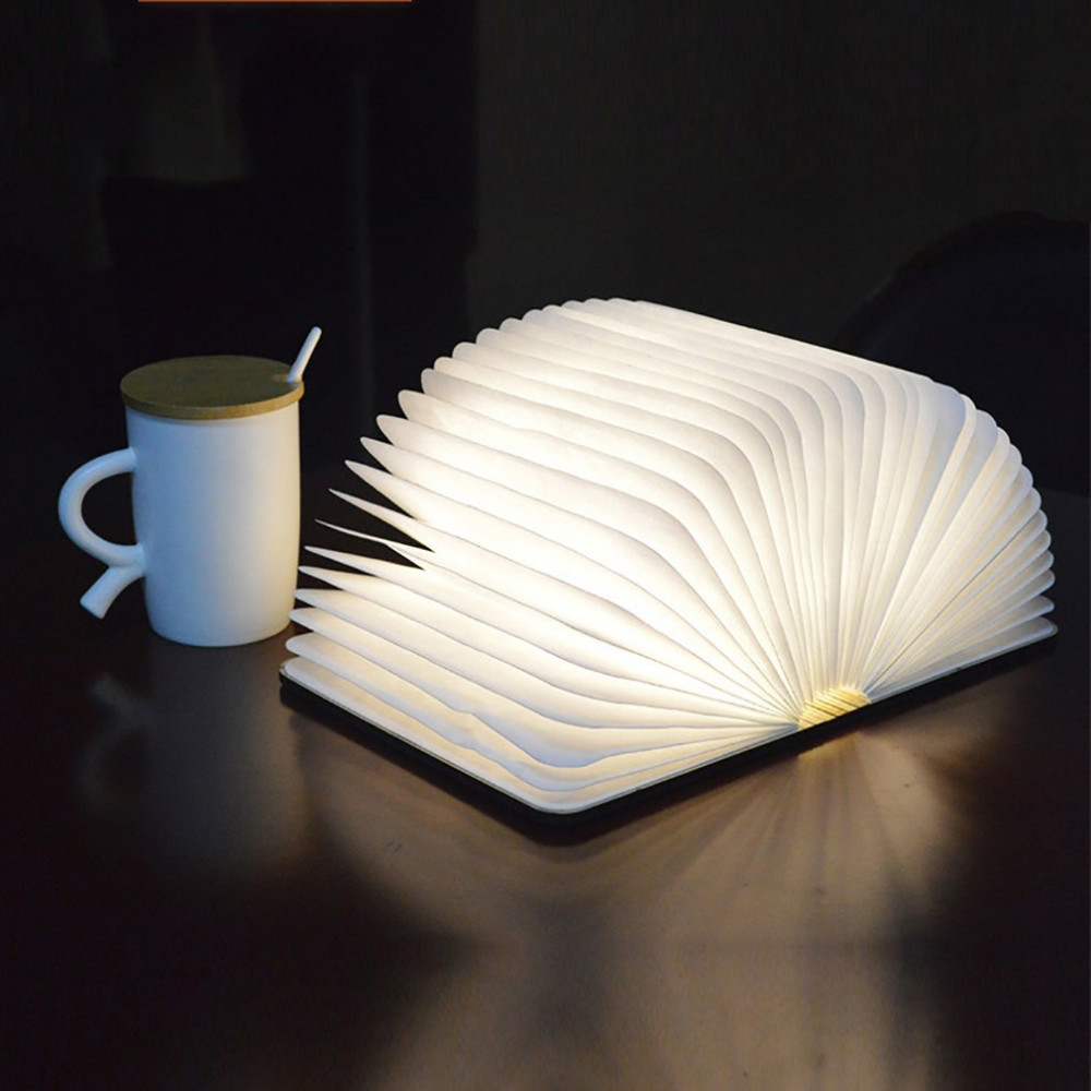 Innovative LED Foldable Wooden Book Shape Desk Lamp 5W USB Rechargeable Portable Folding Book Reading Light for Home Decor Hot new fashion book shape led usb night light folding page book lamp home decor gift wood book lamp