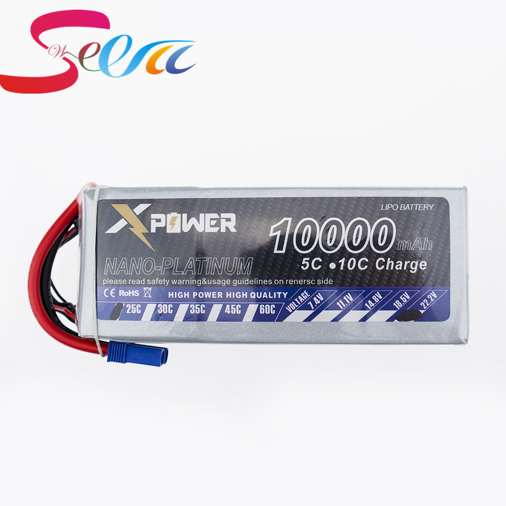 5pcs Lipo 22.2V 10000Mah Lithium Battery EC5 T XT60 XT90 plug For RC Helicopter Qudcopter Drone Car Boat Bateria lithium li polymer lipo battery 22 2v 2200mah 6s t plug 40c for dji s800 multicopter align trex 500 rc helicopter bateria lipo
