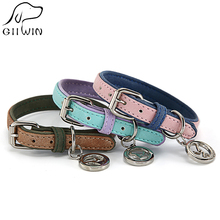Pet Dog Collars Adjustable Cats Neck Collar for Small Large Dogs Leather Products Dog-Collar Cat Supplies YS0075