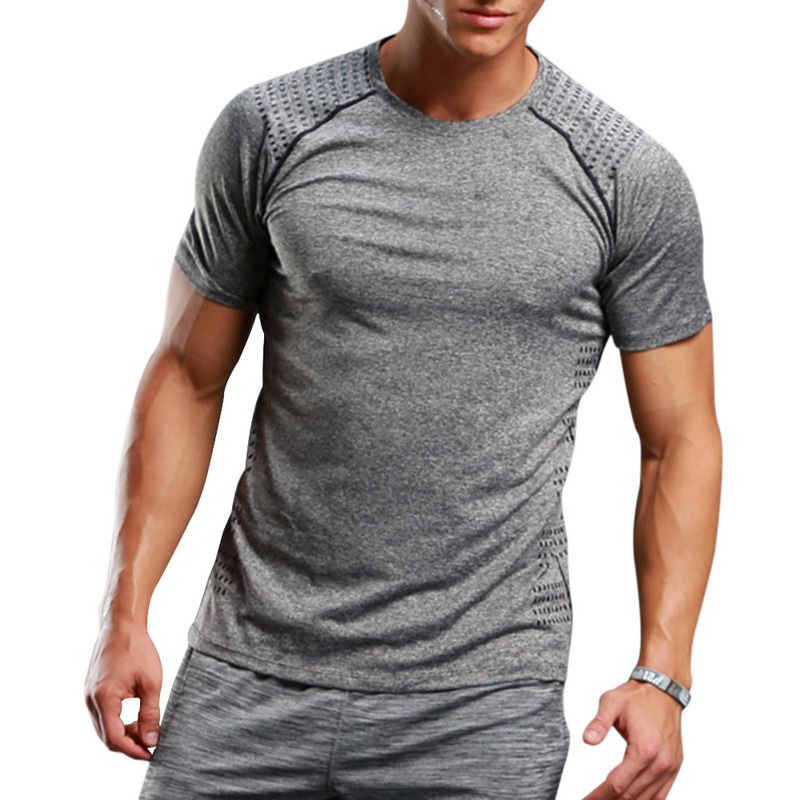 CALOFE Men GYM Running T Shirts Compression Short Sleeve Man Bodybuilding Training Tights Sport Shirt Jogging Spandex Wholesale ...