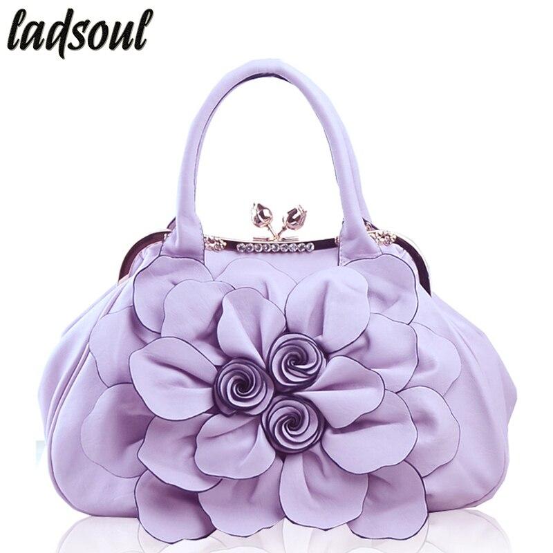 LADSOUL High Quality Elegant Women Bag Tote Bolsa Popular Floral Women Handbags Big Flower Luxury Shoulder Bags For Women A734/g high quality tote bag composite bag 2