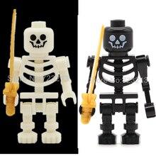 Única Venda Branco Preto Esqueleto Figura Cavaleiro Crânio Conjunto Modelo de Castelo Cavaleiros Do Exército kit de Blocos de Construção de Tijolos Brinquedos para As Crianças