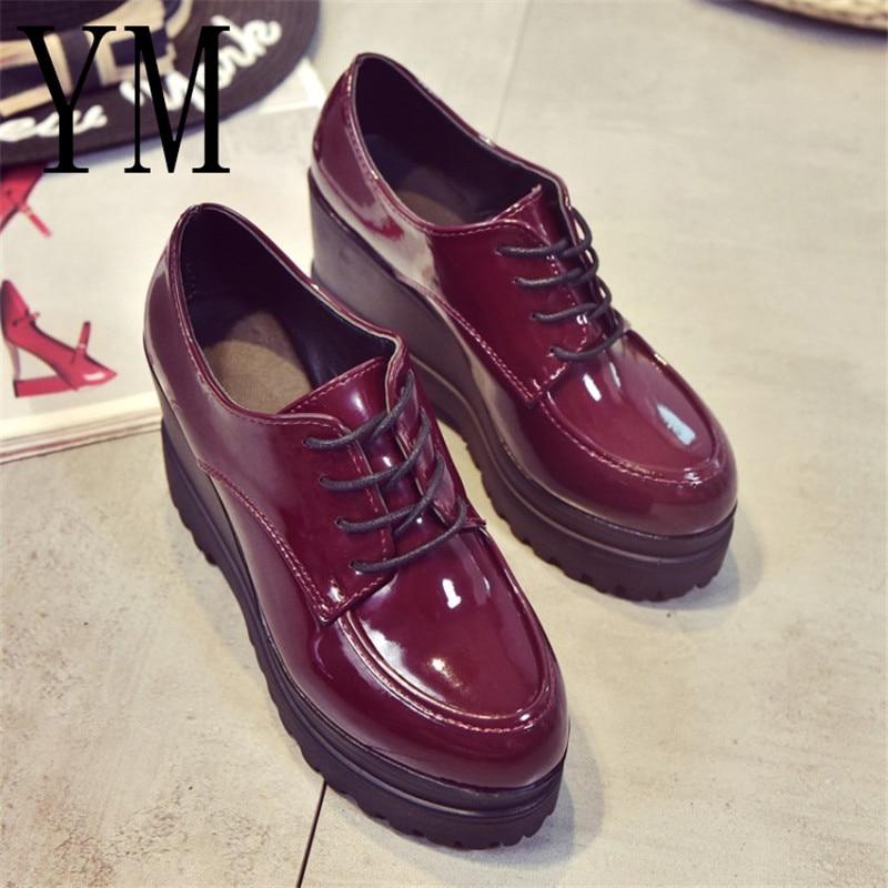 Mujeres Tacones Señoras 2 Femenino Luce Calzado Slip Hasta Zapato Plataforma Cuña Otoño On De Creepers Negro Casual Color Zapatos rojo Charol nqvvYZEr