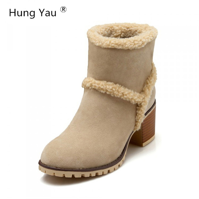 76d76539a54 Hung Yau Women Boots Winter Fashion Warm Fur Boots Waterproof Women s Snow  Boots Thick High Heels Boots 3 Colors Plus Size 43