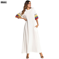 2018 Summer Middle East Muslim Women Fashion Tassel Half Sleeved O Neck Casual Loose Long Dress