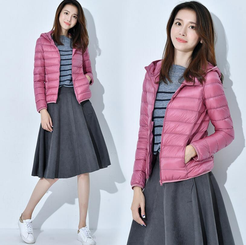 2019 Brand New Designer Women   Down   Parkas 90% White Duck   Down   Ultralight Jacket Female Winter Outwear Hooded Thin   Coat