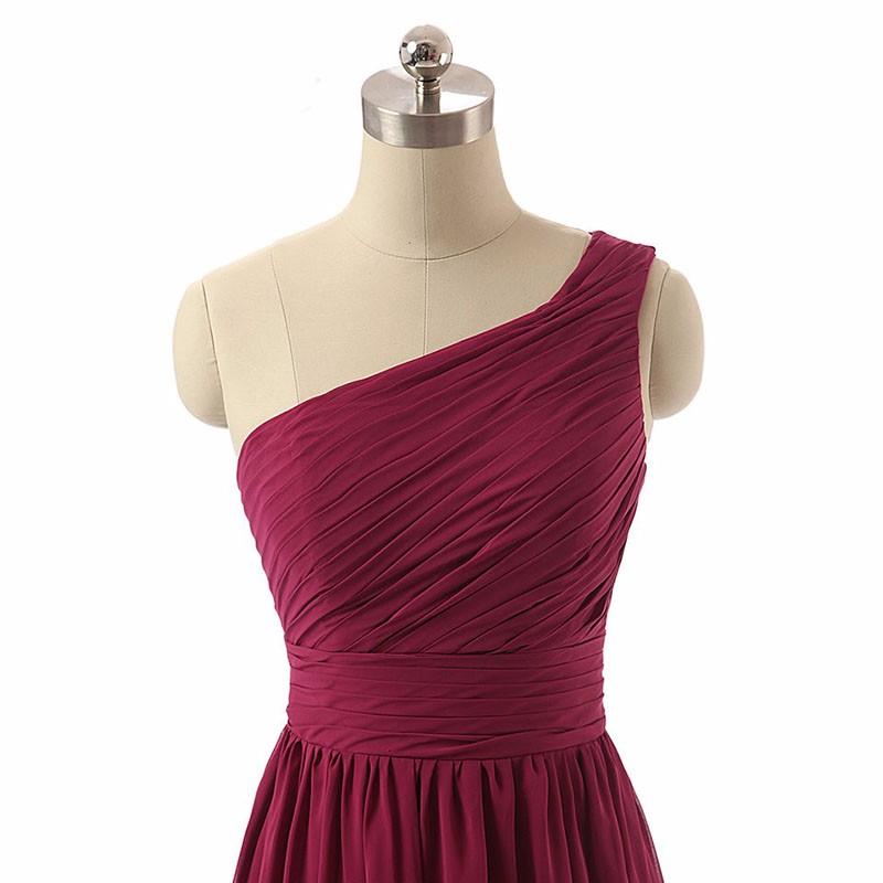 Real Photos Green Bridesmaid Dress One Shoulder Chiffon Ruffled Long Party Dress Plus Size Delicate Bridesmaids Dresses 2017 5