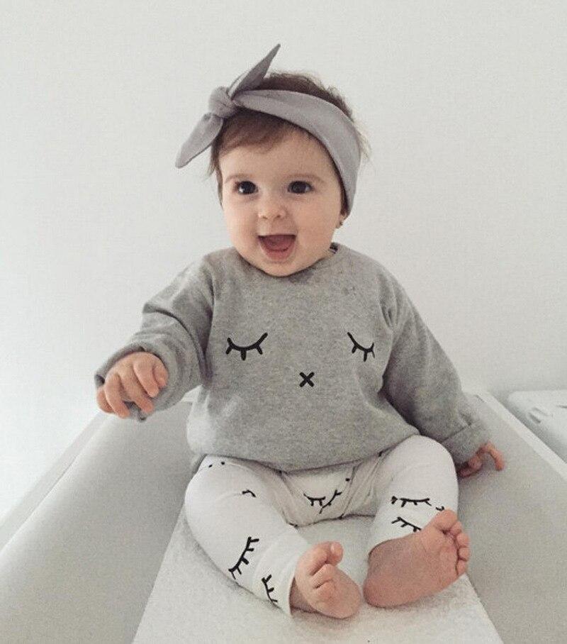 af91d93f2 2017 Fashion Newborn Baby girls clothes gray eyelash Long Sleeve T shirt+pant  2pcs set Baby Girl Clothes Cotton Baby clothes set. Price: