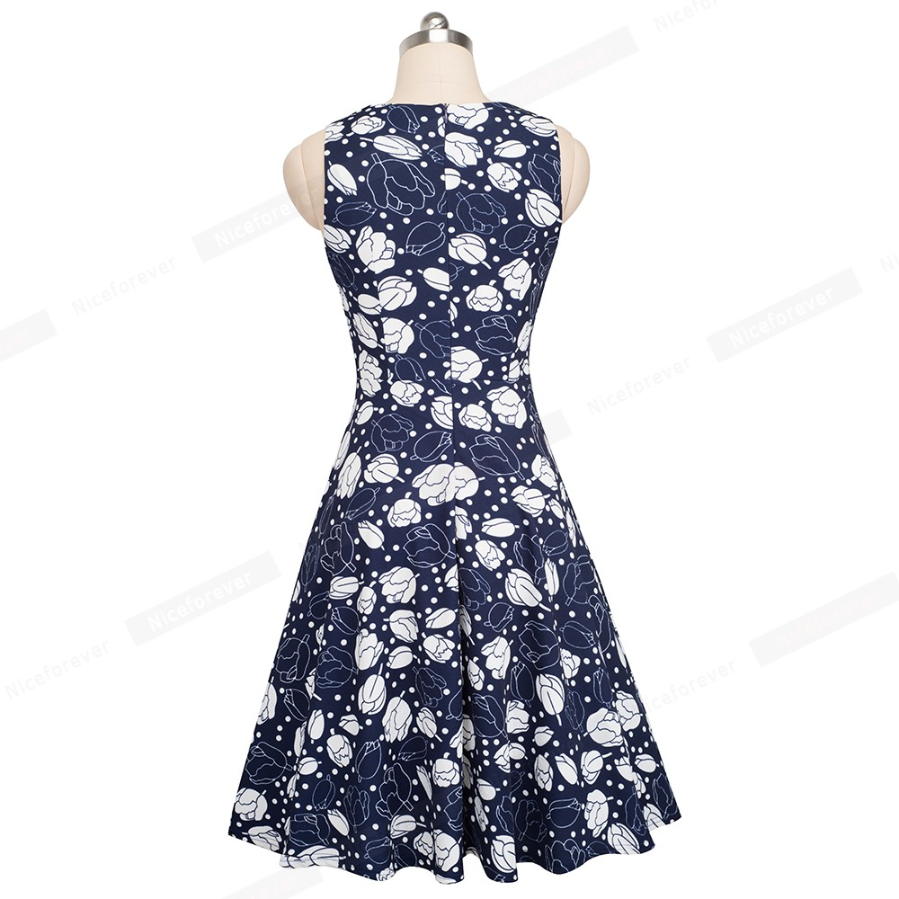 Nice-forever Vintage Elegant Embroidery Floral Lace Patchwork vestidos A-Line Pinup Business Women Party Flare Swing Dress A079 104
