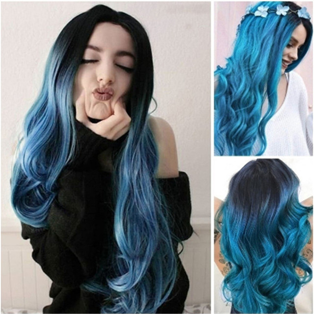 Women Long Curly Straight Wavy Synthetic Full Hair Wig Carve Long