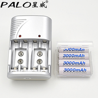 PALO 4 Slots 1 2v AA AAA 9v 6F22 Li Ion Nimh Nicd Smart Battery Charger