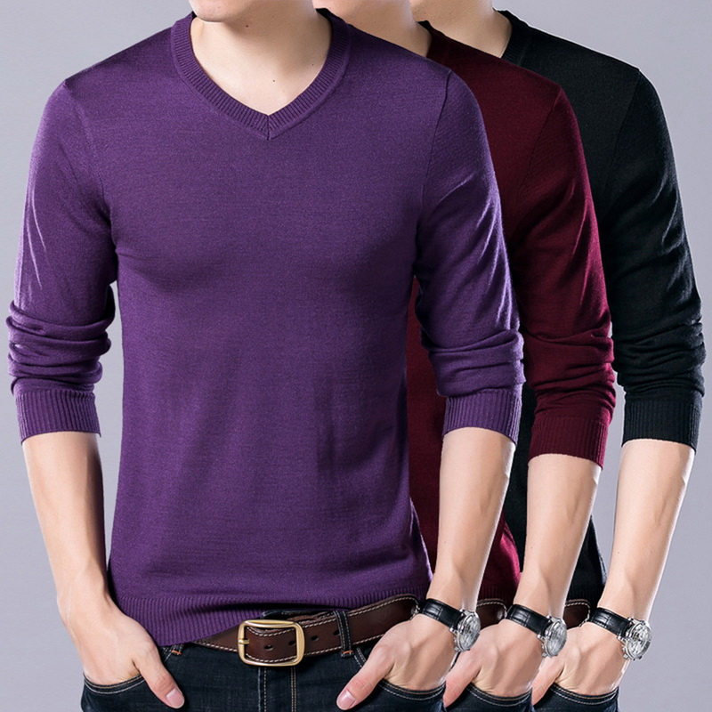 MJARTORIA 2019 Solid Casual Men's Sweater V-Neck Pullover Slim Fit Knittwear Pullovers Men Pull Homme