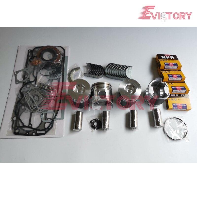 For Yanmar 4D106 engine rebuild kit S4D106 4TNE106 4TNV106 Piston + ring  liner full gasket kit bearing water pump oil pump Pistons  Rings  Rods & Parts     - title=