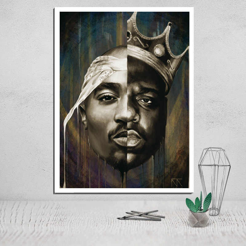 canvas painting Tupac Shakur canvas prints poster vintage painting & calligraphy abstract painting wall art modular pictures pop