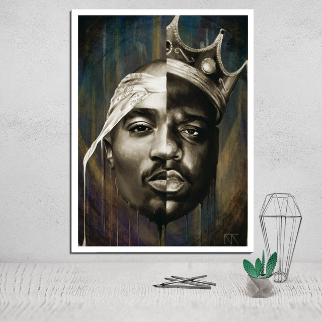 Canvas Painting Tupac Shakur Prints Poster Vintage Calligraphy Abstract Wall Art Modular Pictures Pop