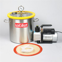 5.5 Gallon (21L) Stainless Steel Vacuum Chamber with 2.5 CFM (1.4L/s) 220V Vacuum Pump