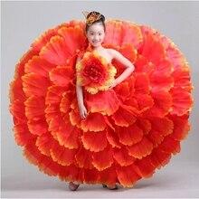 children Flamenco dance costume expansion modern performance wear clothes petal skirt spanish flamenco dress