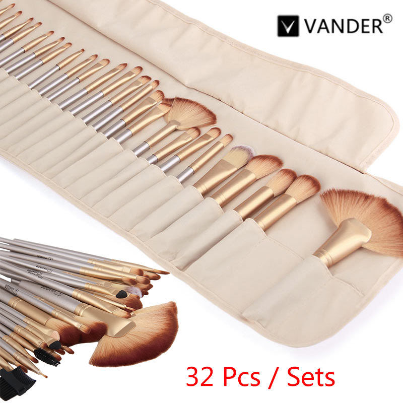 Vanderlife 32Pcs/set Champagne Gold Makeup Brushes Professional Cosmetic Make Up Brush Kabuki Foundation Powder Lip Brush Beauty free shipping durable 32pcs soft makeup brushes professional cosmetic make up brush set