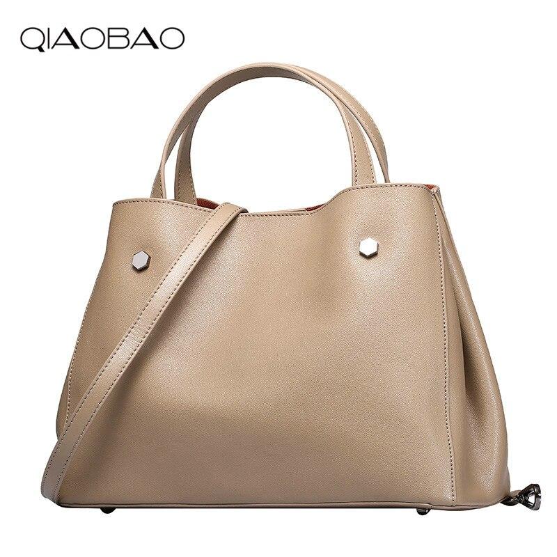 QIAOBAO Women Handbag Genuine Leather Single Shoulder Bag Simple Design Cowhide Lady Casual Shopping Composite Bag Bucket Totes цена