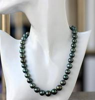 Excellent gloss AAA 9 10 mm Tahitian peacock green pearl necklace 14 clasp