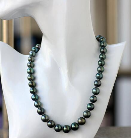 Excellent gloss AAA 9-10 mm Tahitian peacock green pearl necklace 14 claspExcellent gloss AAA 9-10 mm Tahitian peacock green pearl necklace 14 clasp