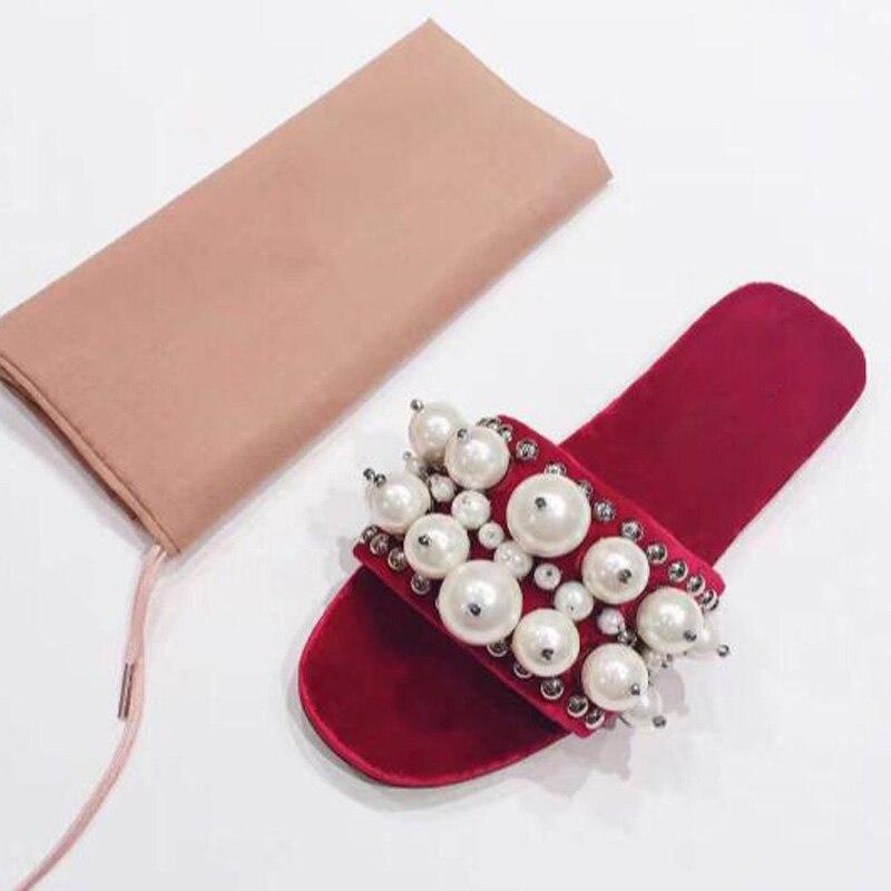 Perlen Nieten Weiche Big Der Studs White Pearl Hausschuhe Red Mädchen Spitze Schuhe Luxus Frauen Samt Flache Dias Offene Lässig Perle black Weibliche xqwIEg6E