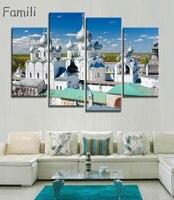 4 Stukken Stad in Rusland gebouw, Poster HD HOME MUUR Decor Custom KUNST Zijden Behang unframed, canvas schilderen