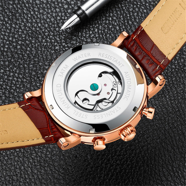 KINYUED 2019 New Design Genuine Leather Diamond Display Tourbillion Automatic Mechanical Watch Mens Watches Top Brand Luxury