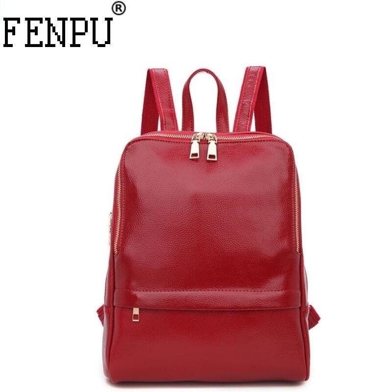 Genuine Leather Backpack Women Backpacks Soft Leather Female School Bags For Girls Hot Fashion Women Backpack Taravel Bag #1