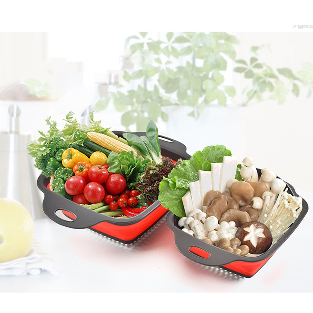Квадратная складная корзина для слива, пластиковая корзина для фруктов, многофункциональная телескопическая корзина для мытья посуды
