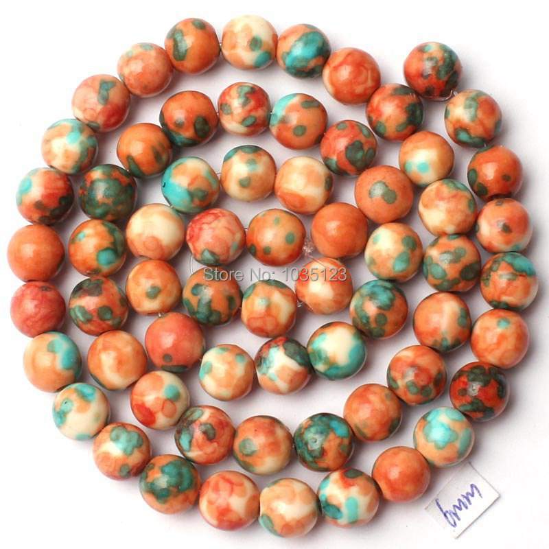 Free Shipping 6mm Pretty Round Shape Natural Mixed Color Stone Loose Beads Strand 15 DIY ...