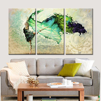 Drop Shipping Modular Flower Canvas Painting Home Decor Wall Art Canvas Dancing Girl Wall Picture For