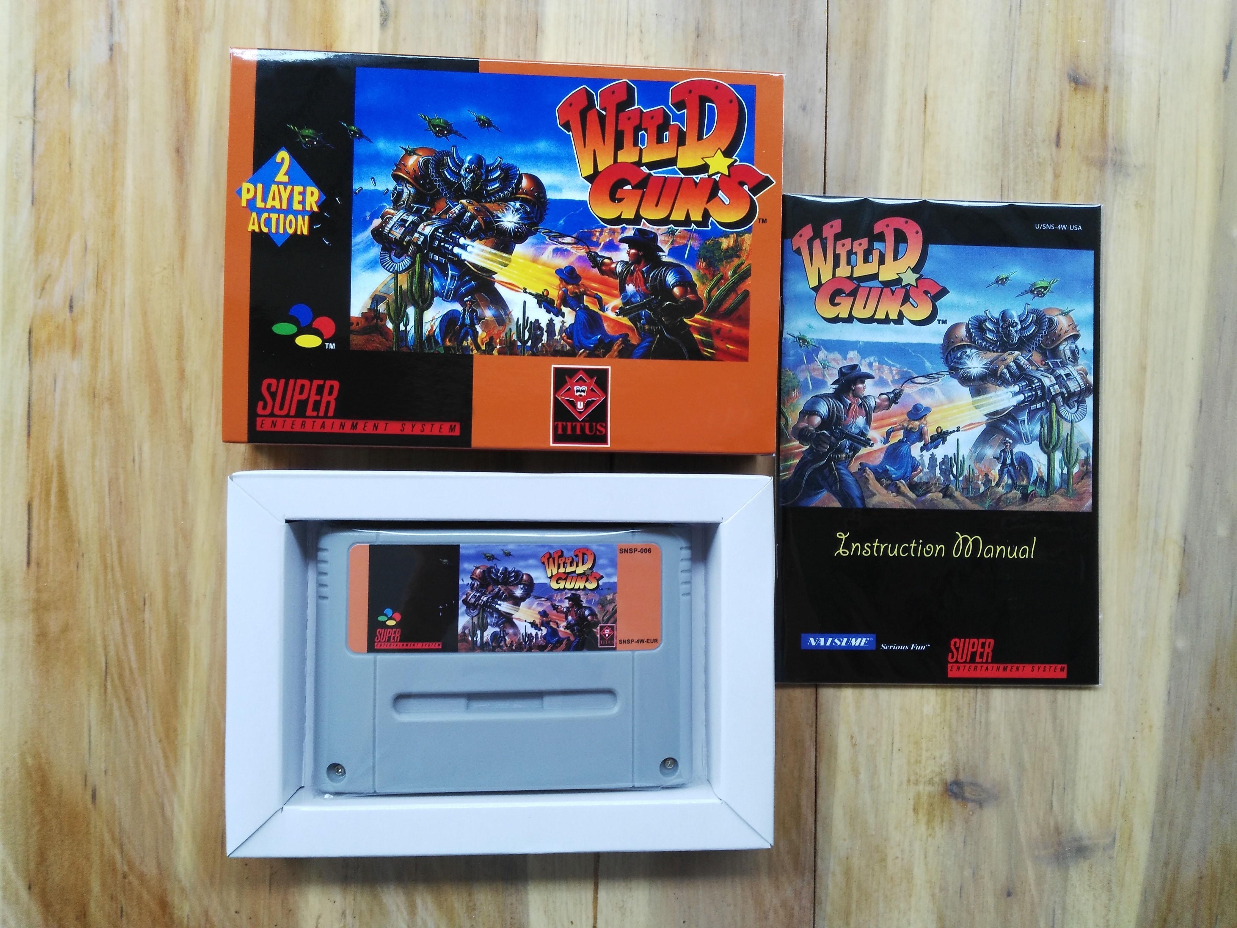 16Bit Games Wild Guns PAL Version Box Manual Cartridge