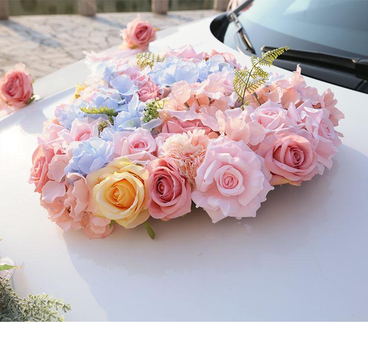 Ev ve Bahçe'ten Yapay ve Kurutulmuş Çiçekler'de Pembe Ipek Gül Ortanca Sahte bitkiler Fern yapay çiçek Şerit Düğün araba çiçek seti dekorasyon düğün malzemeleri'da  Grup 2