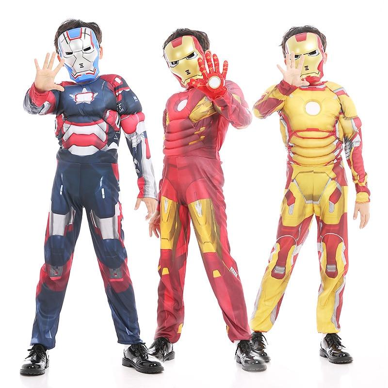 New Carnival Cosplay Iron Man Costume Child Fancy Dress Ironman Halloween Costumes For Kids Boys Children Avengers Girls