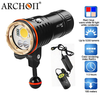 ARCHON DM20 WM26 Aluminum Waterproof XML2 U2 5200 LM 4 Color Light Tint Diving LED Flashlight Torch with battery pack