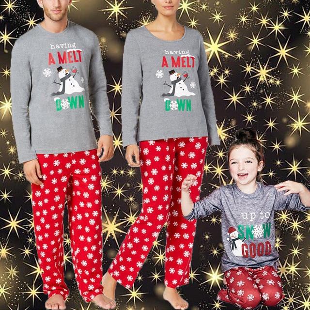 a451bded95 Christmas Family Matching Pajamas Set Xmas Mom Dad Kids Snowmen Sleepwear  Nightwear 2018 New Hot XMAS