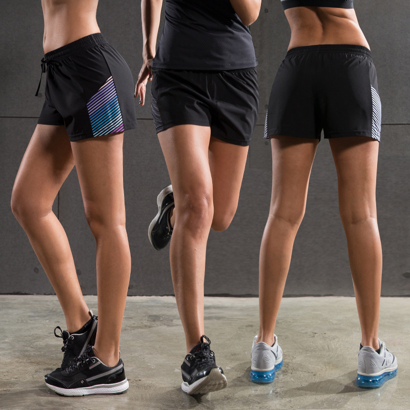 Lantech Frauen Shorts Jogging Sport Jogging Yoga Sportswear Laufen Fitness Blinden Kompression Strumpfhosen Kurzschlüsse Doppelschicht Laufshorts Sport & Unterhaltung