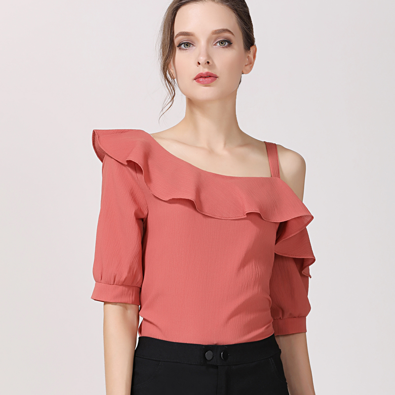 2019 hot sale chiffon women blouse shirts elegant solid color ladies clothing short sleeve summer fashion women's tops  123J 30