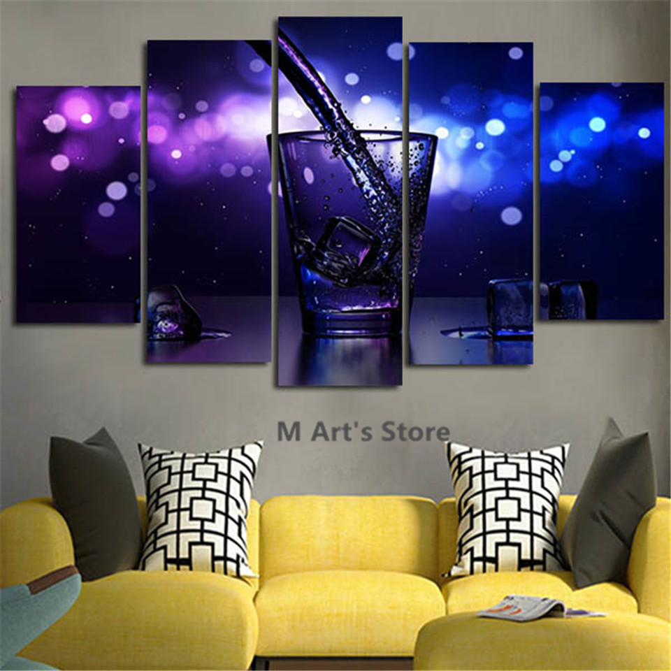5iece Wall Art Decor Glass Painting Blue Water Canvas Art Picture Posters Prints Canvas Frame Artwork For Home Decor